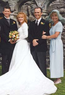 Craig, Nuala, Dennis and Linda, father and mother of bridegroom